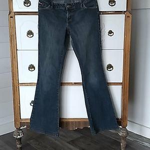 DISH• Flare lower rise medium/dark wash jeans